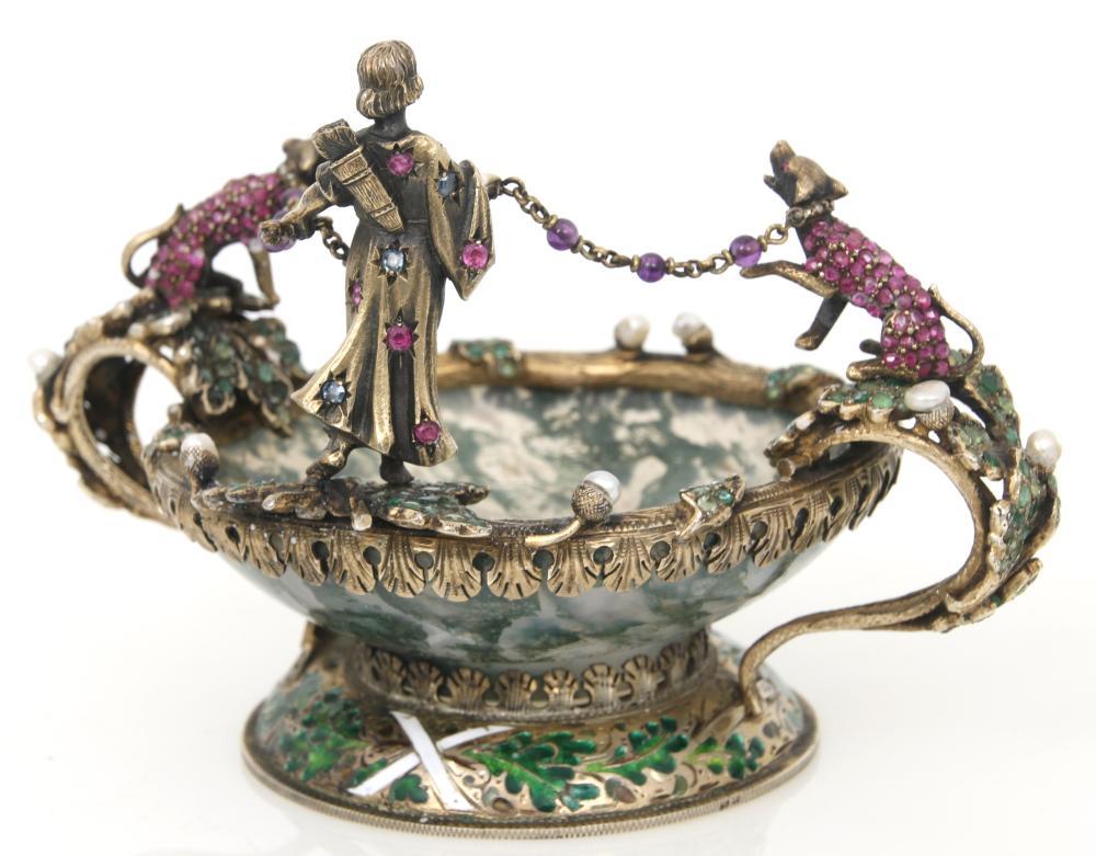 Austrian Vermeil, Agate & Jeweled Coupe