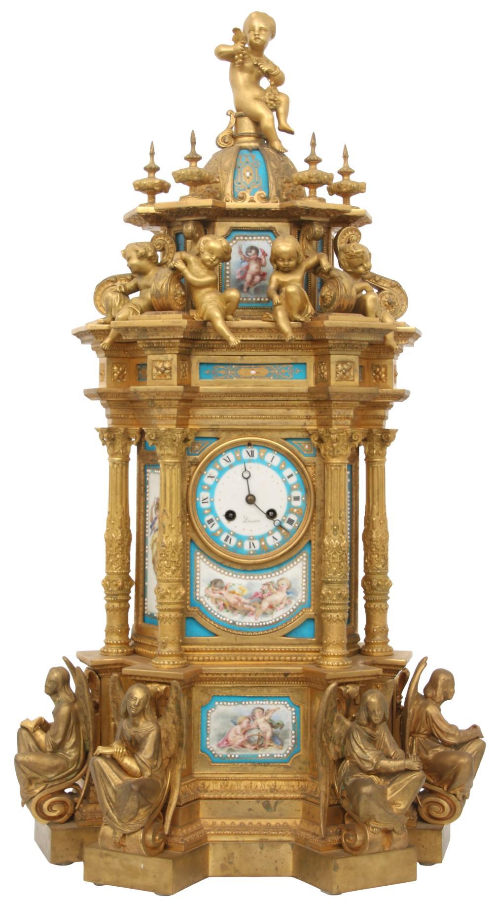 French Gilt Bronze & Porcelain Mantel Clock