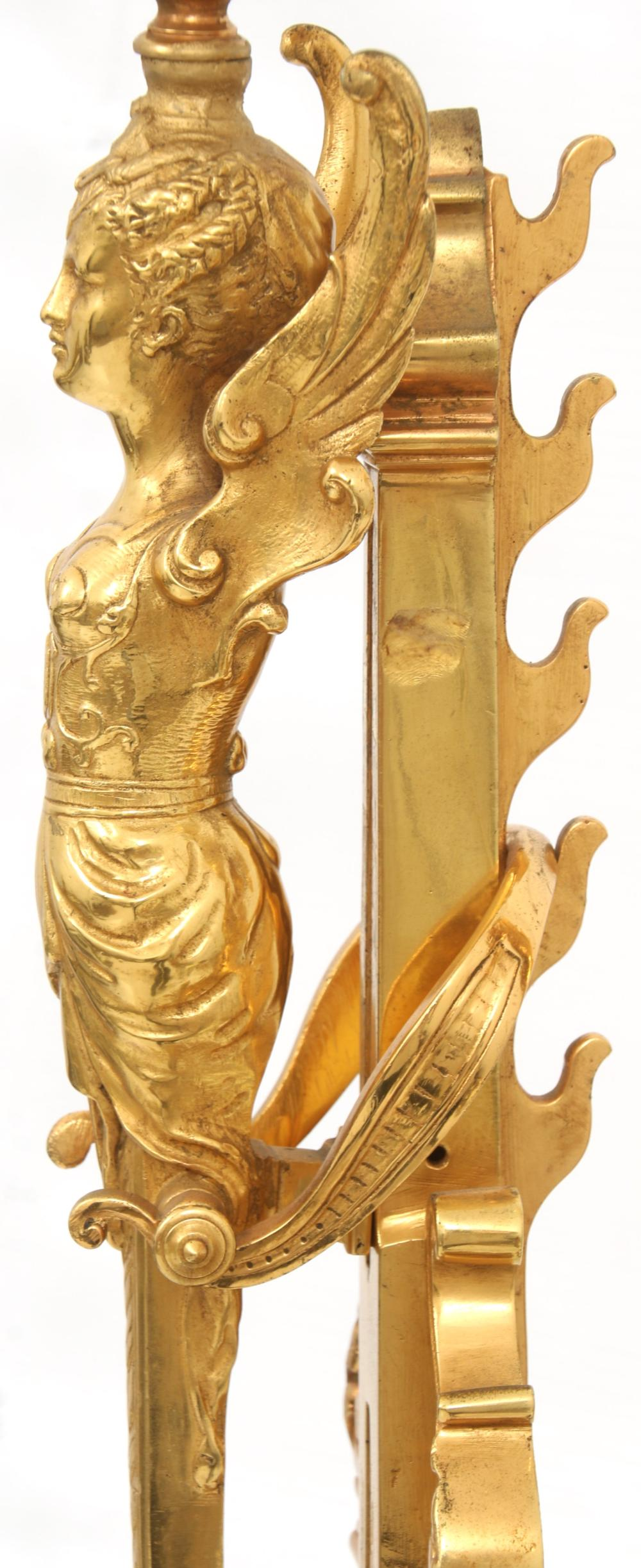 Pair of French Gilt Bronze Chenets/Candle Holders