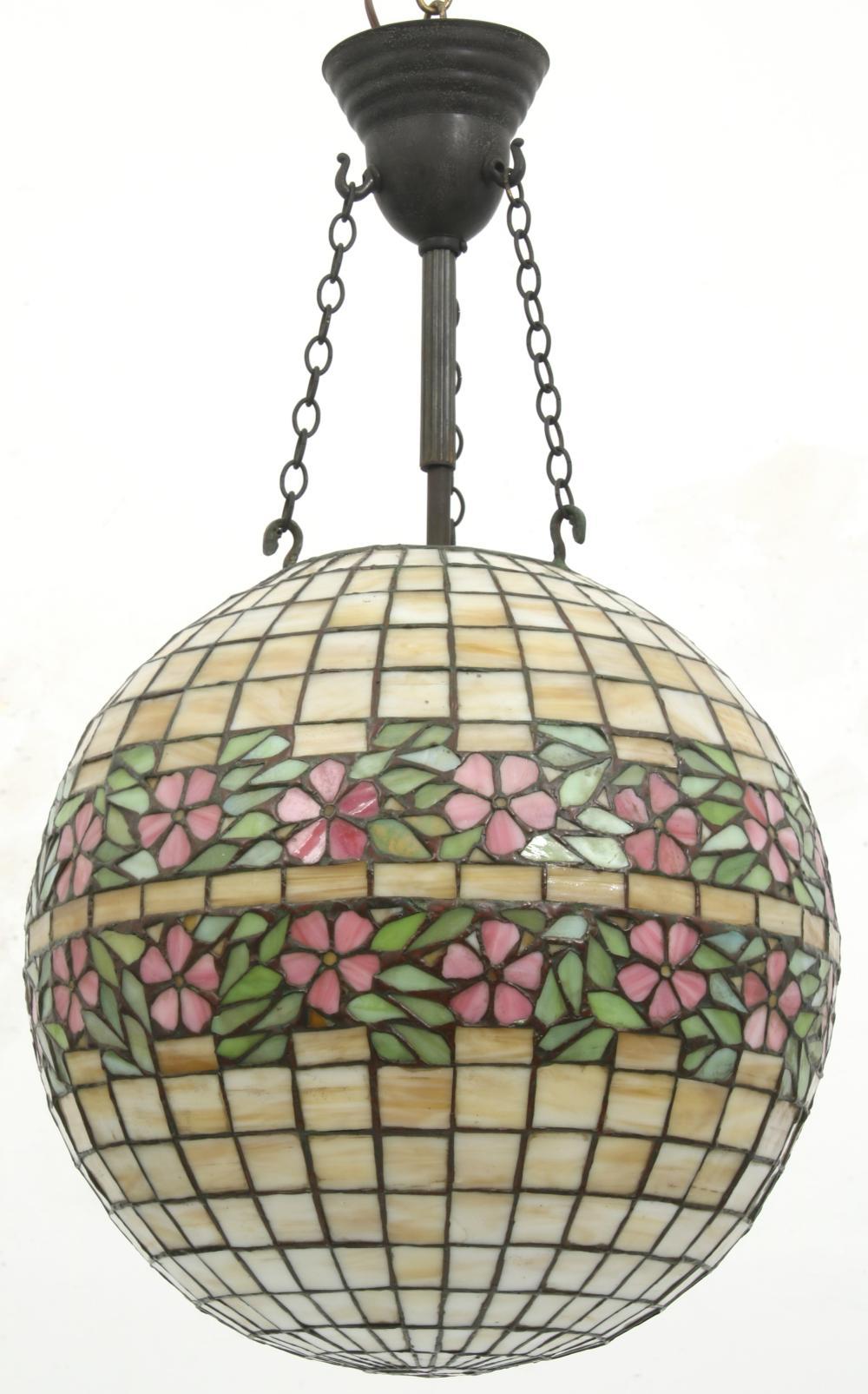 Handel Leaded Glass Hanging Globe