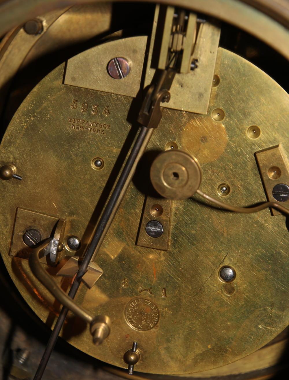 Tiffany & Co. Bronze & Rouge Marble Mantel Clock