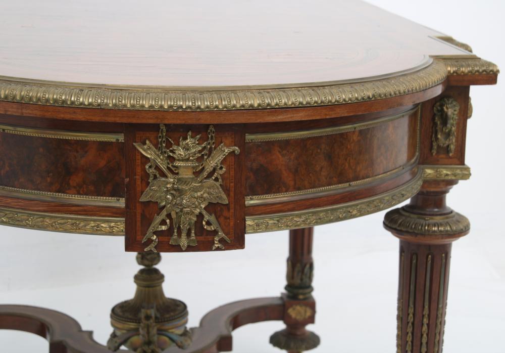 French Ormolu-Mounted Walnut Center Table