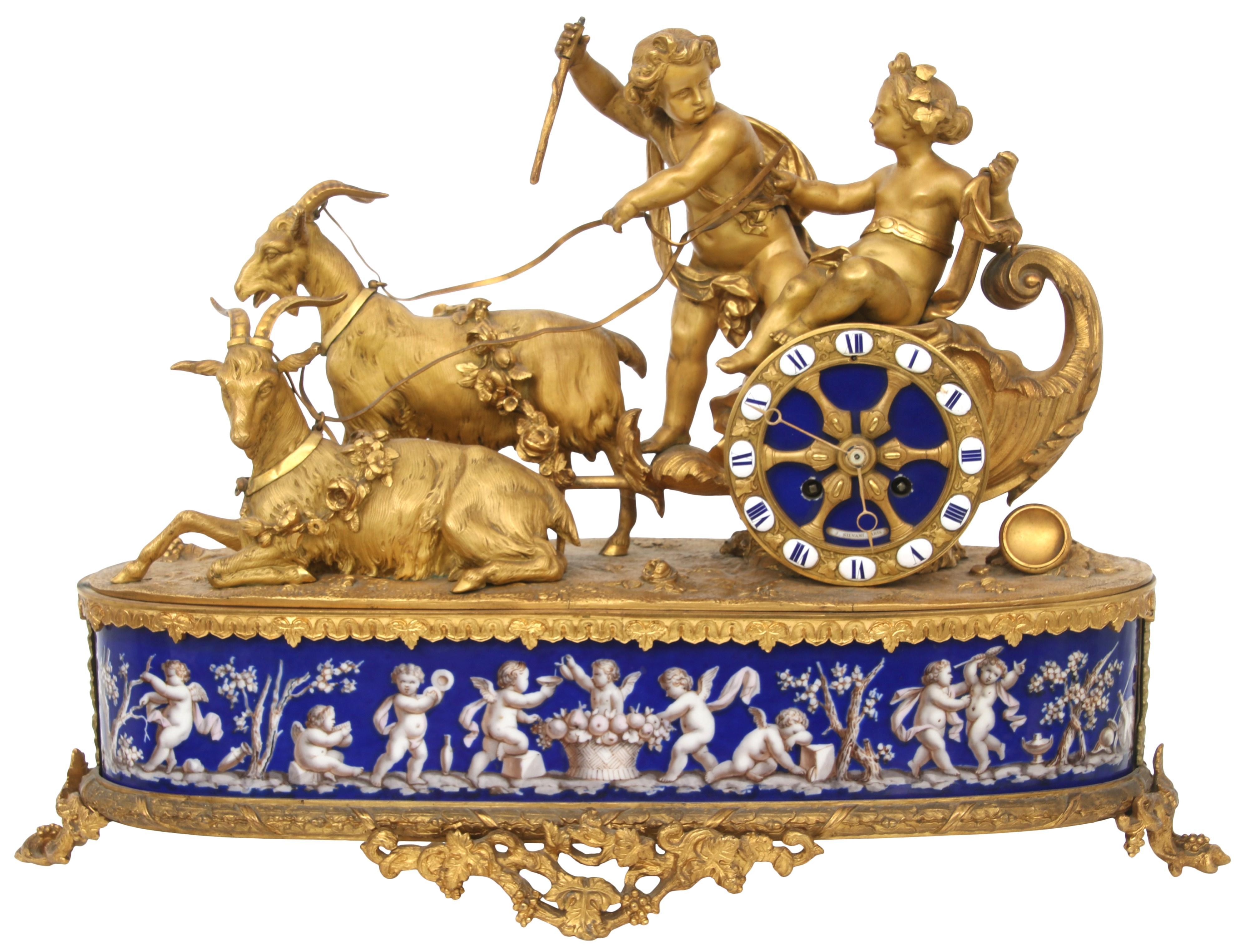 Louis XV Style Bronze & Porcelain Mantel Clock