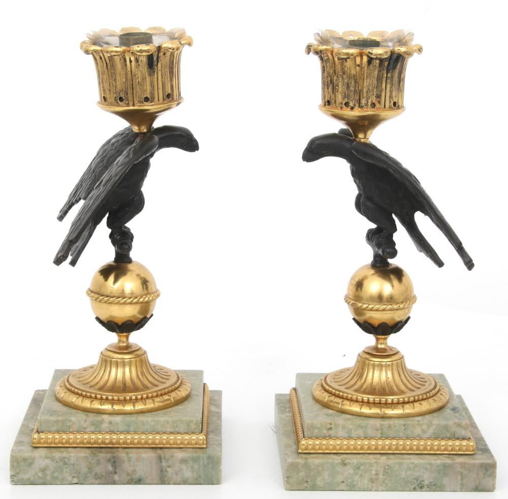 Pair of Empire Style Hurricane Lamps