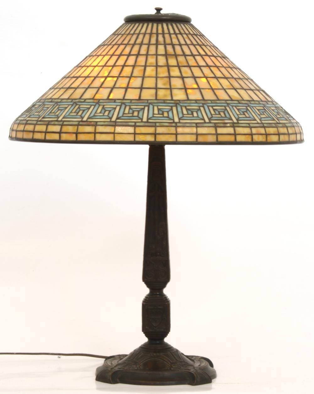"Tiffany Studios ""Greek Key"" Table Lamp"