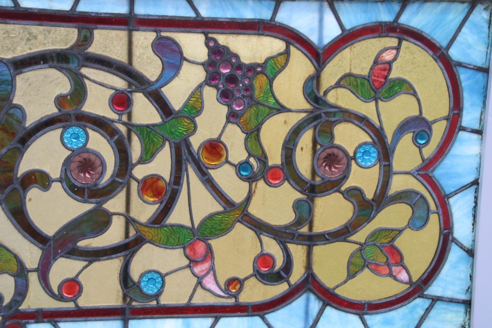 Pair of American Leaded Glass Windows