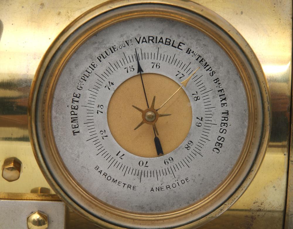 French Industrial Brass Steam Boiler Clock