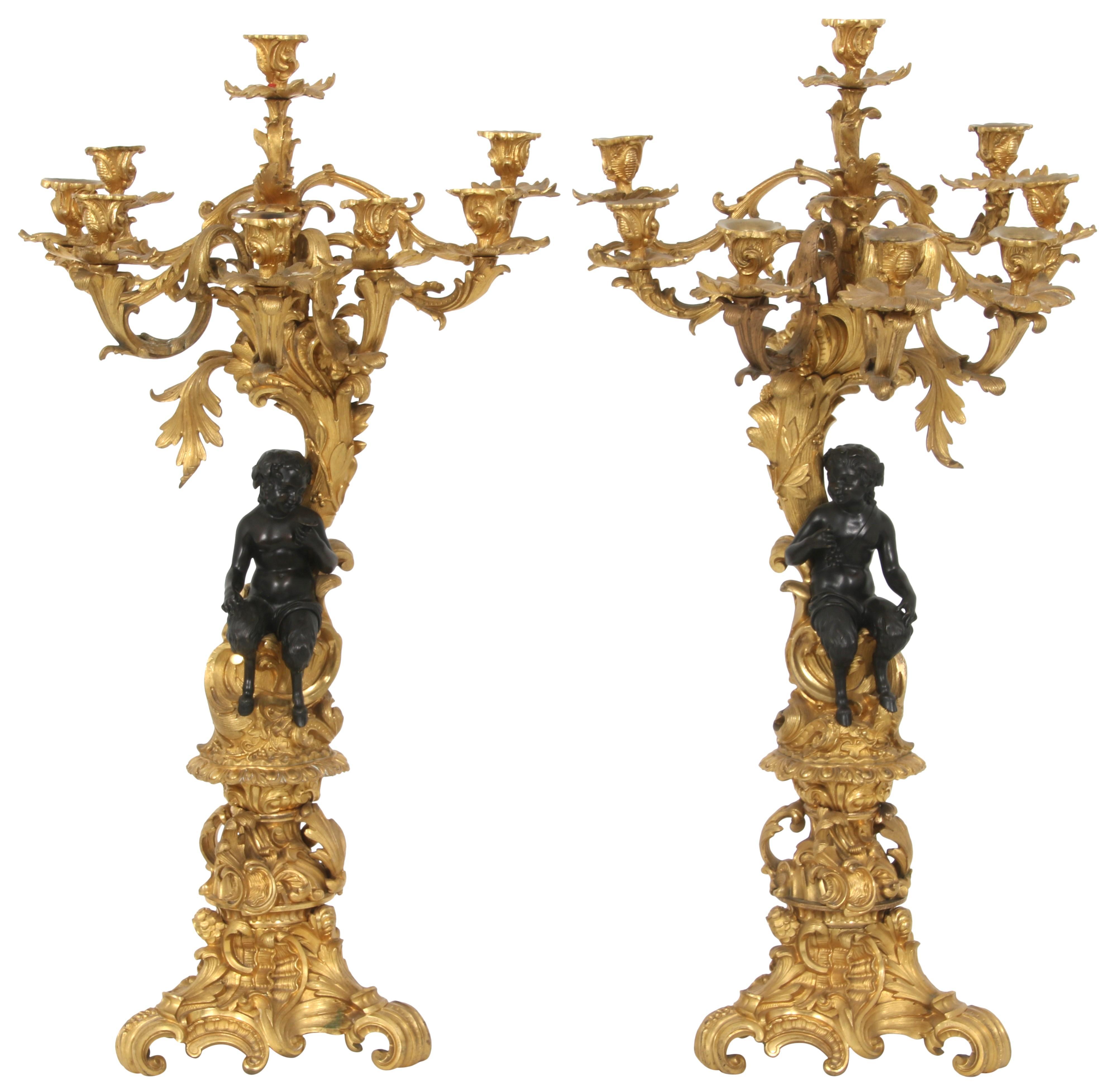 Pair of Louis XV Style Seven-Light Candelabra