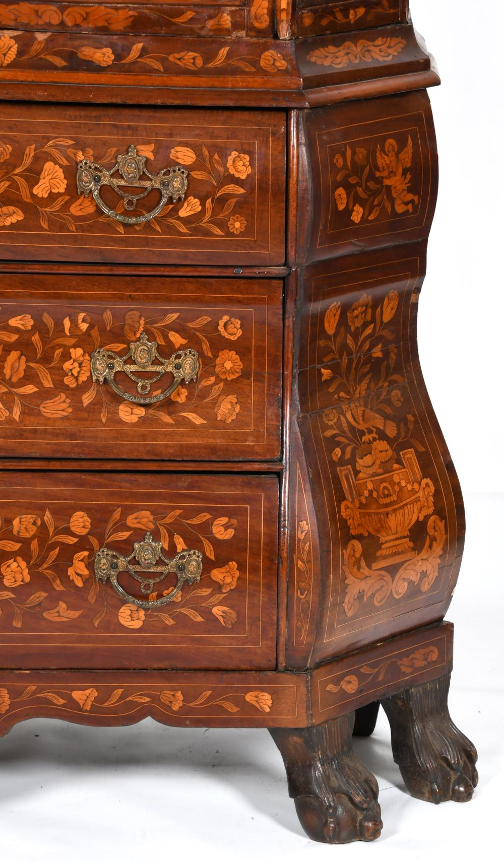 Dutch Marquetry Display Cabinet