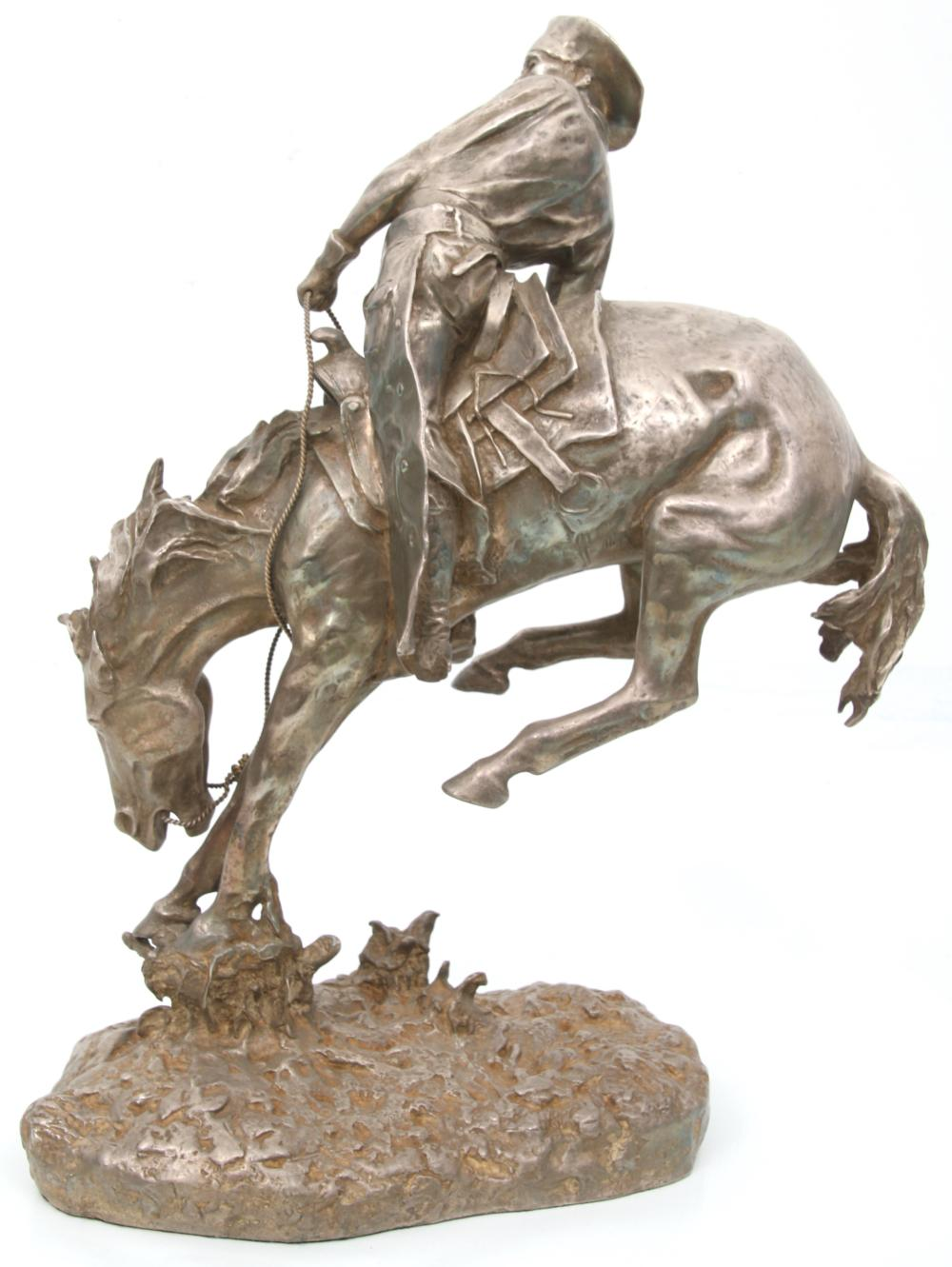 Fine Silver Sculpture After Frederic Remington