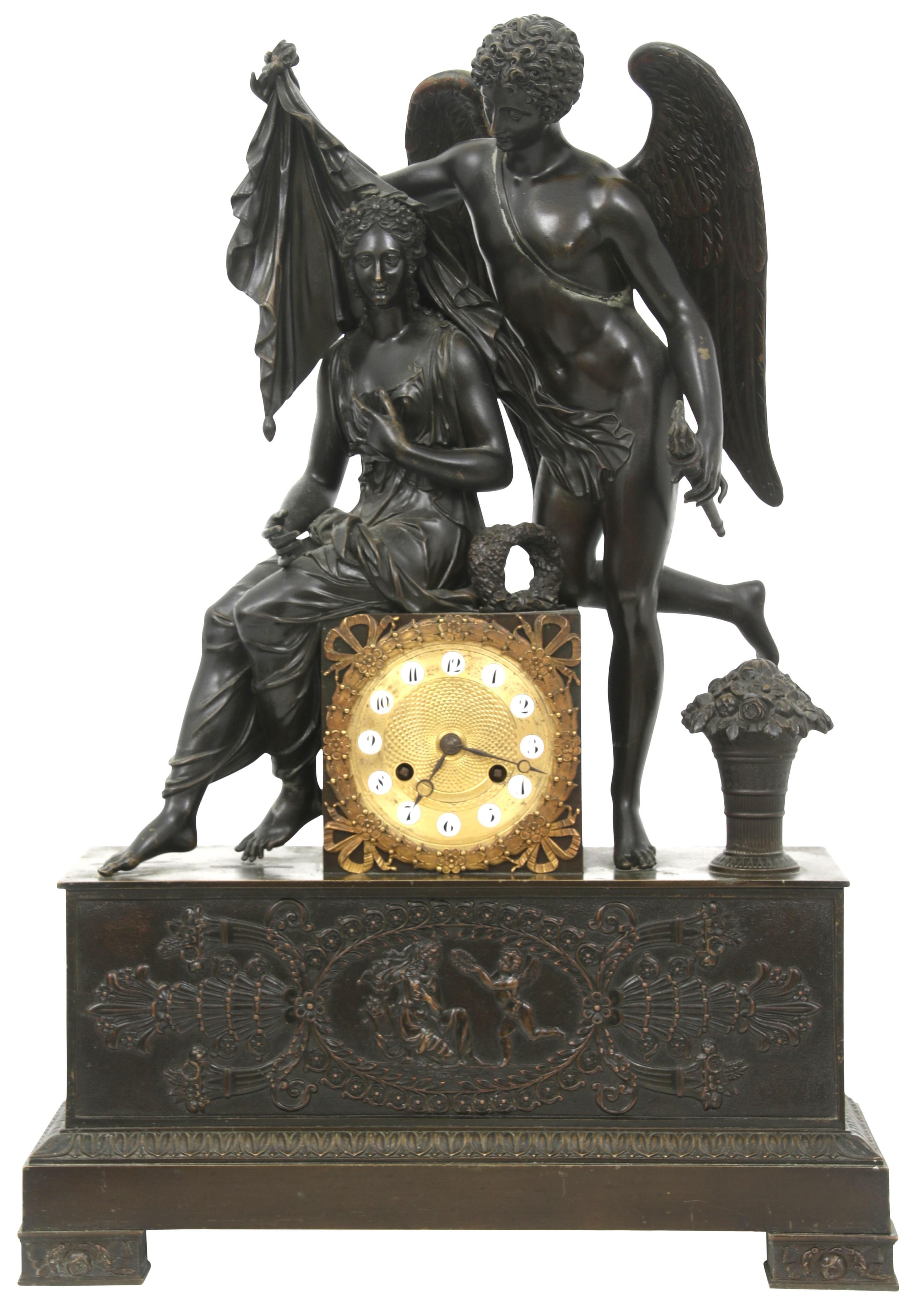 French Empire Style Bronze Clock