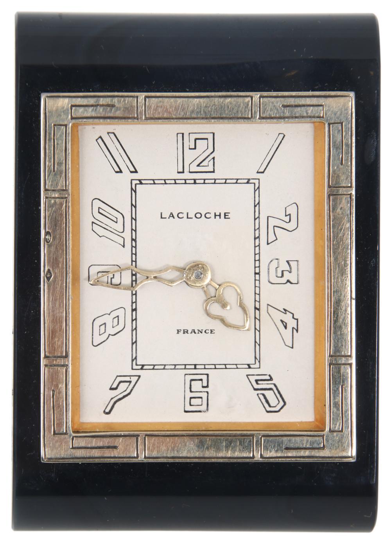 Lacloche 14K Gold & Silver Travel Clock
