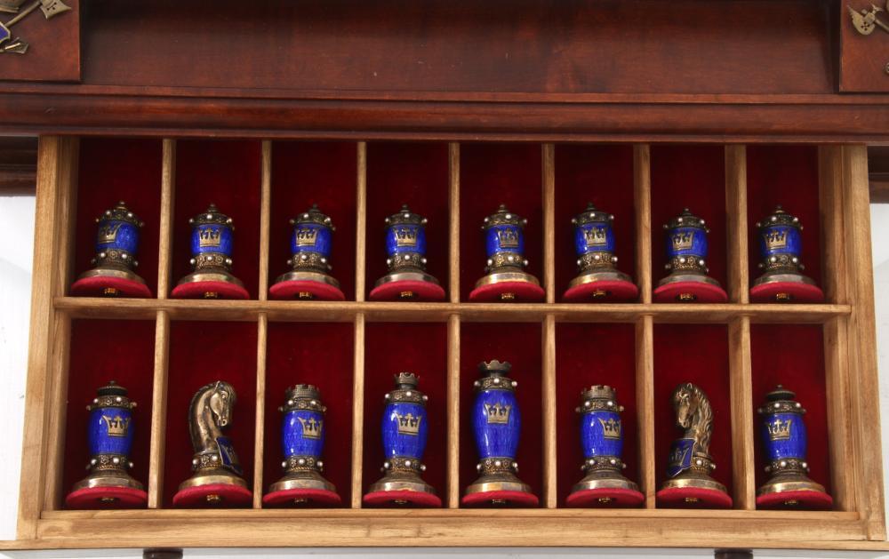 French Gilt Silver & Enamel Chess Set