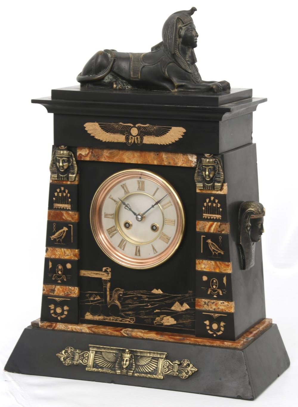 French Egyptian Revival Mantel Clock