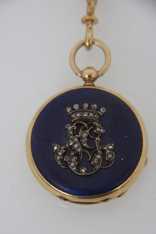 Asprey Gold & Lapis Chatelaine with Watch