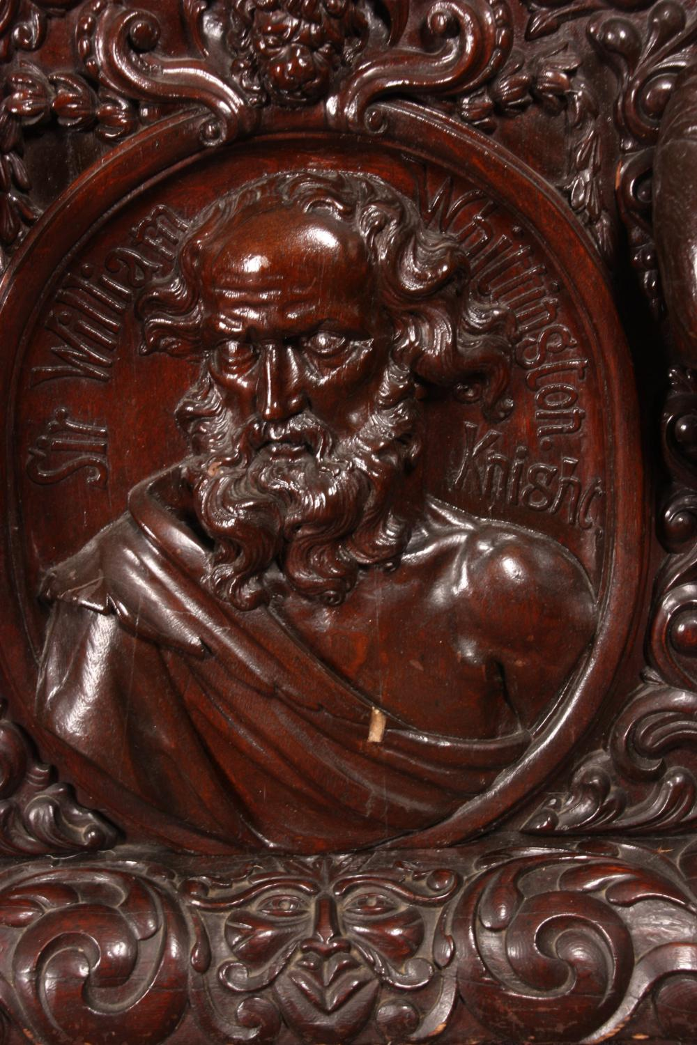 Monumental English Carved Oak Tall Case Clock