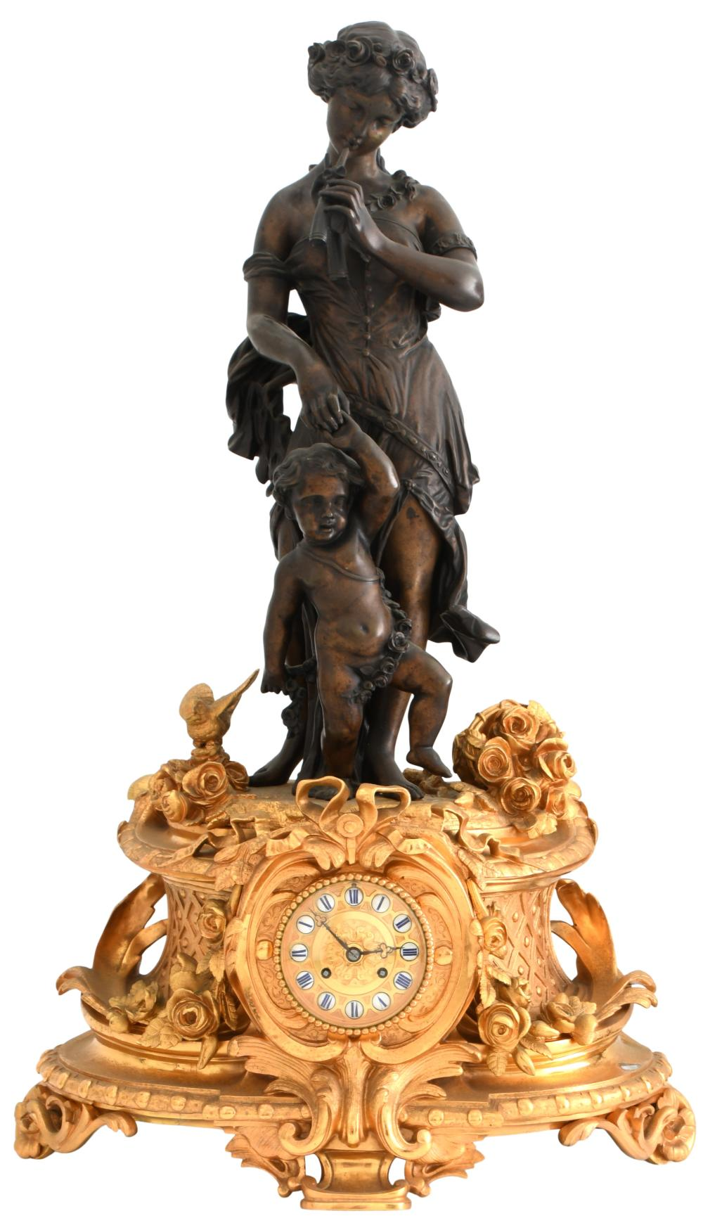 Louis XV Style Bronze Figural Mantel Clock
