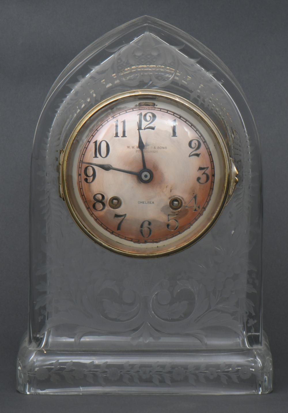 Chelsea Clock Co. Cut Glass Mantel Clock