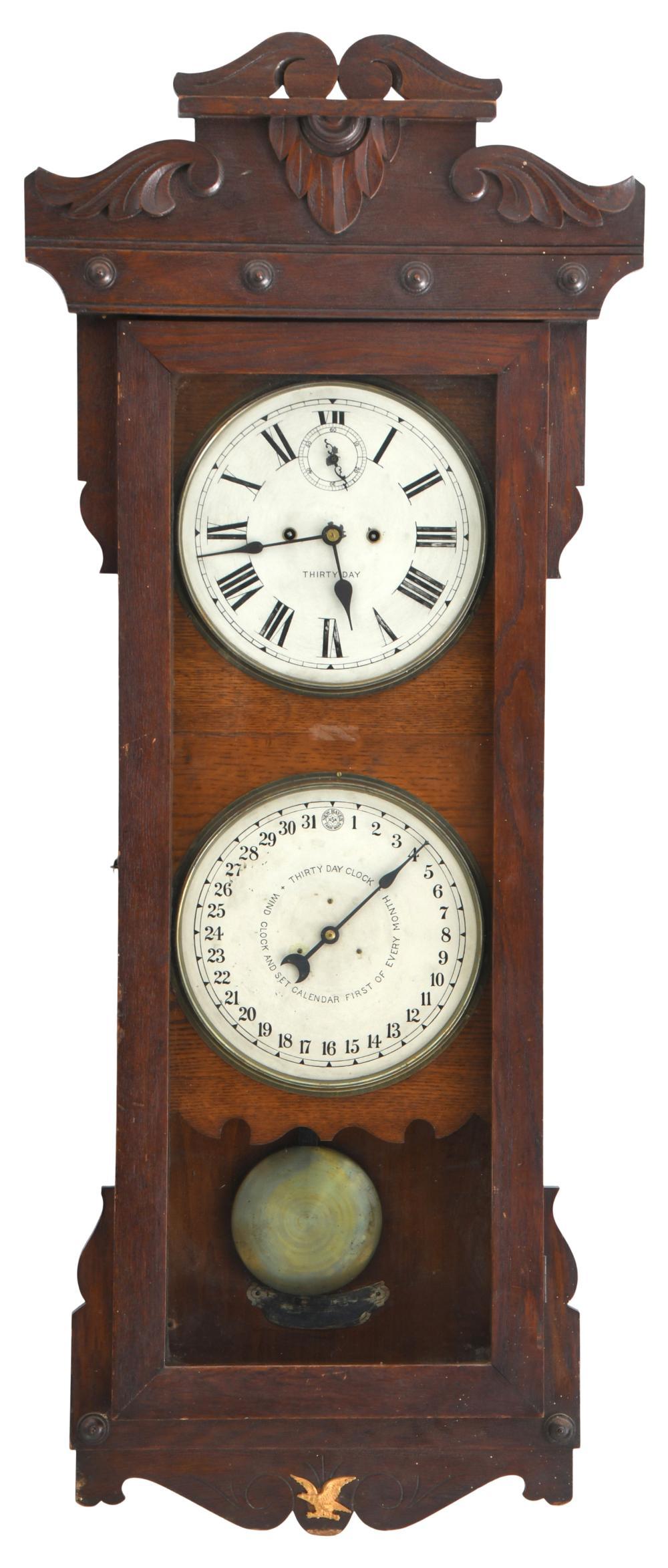 New Haven 30-Day Calendar Wall Regulator Clock