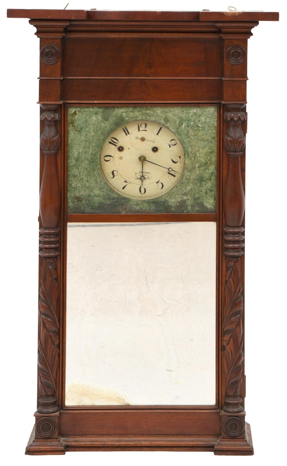 Asa Munger Mahogany Shelf Clock