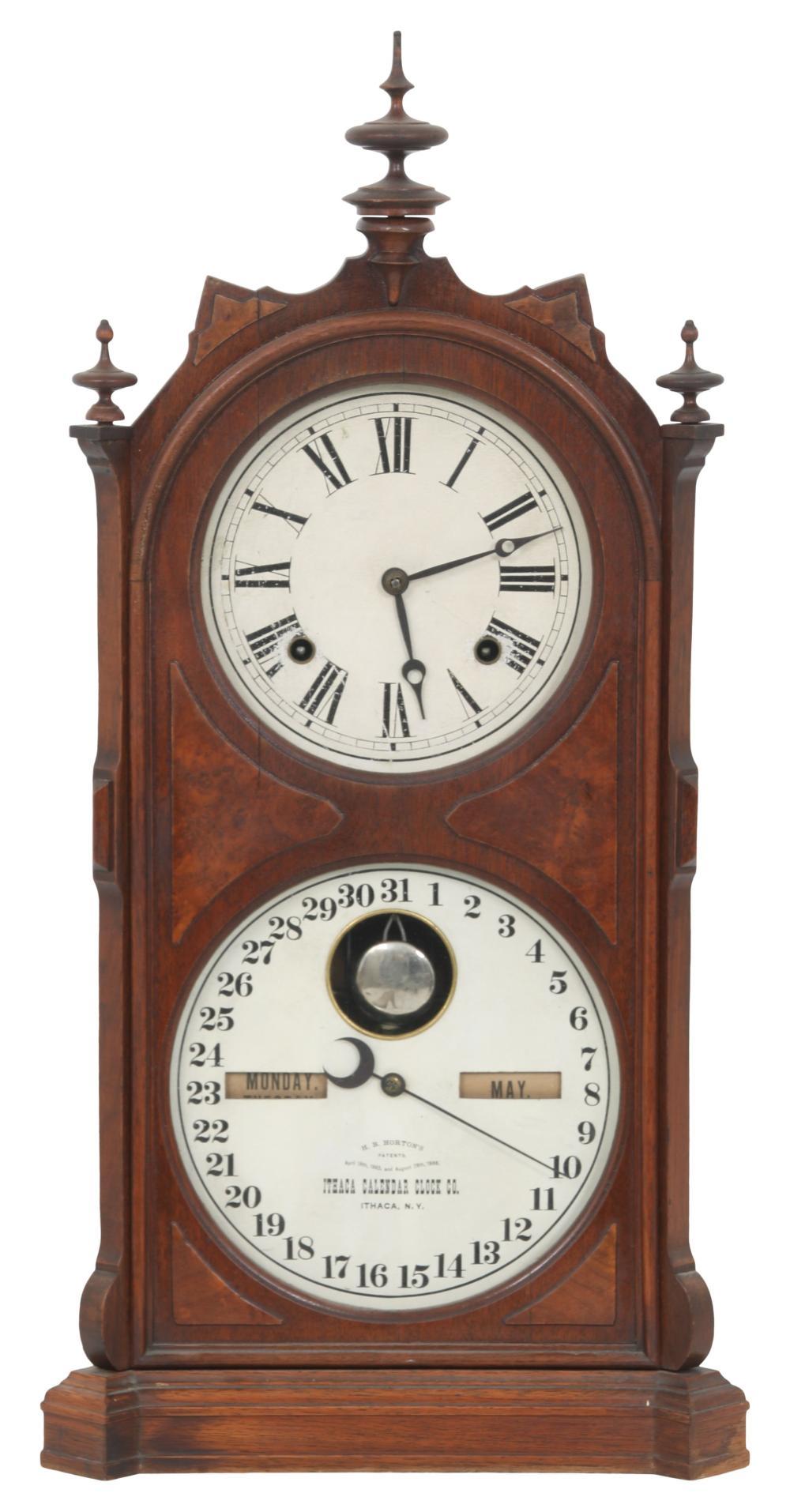 Ithaca No. 9 Shelf Library Double Dial Clock