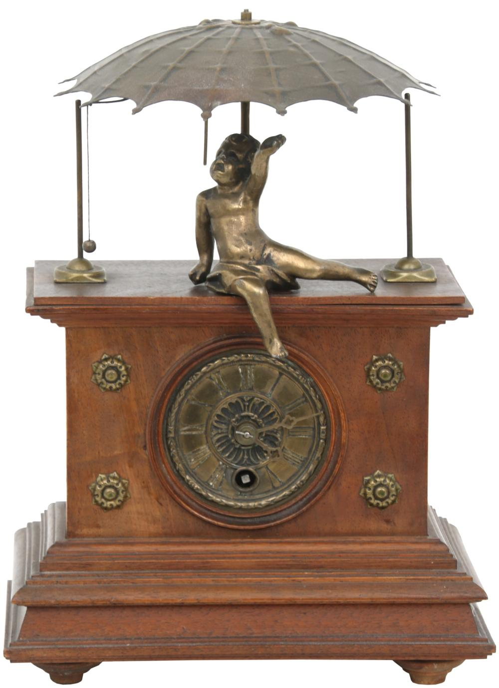 French Walnut & Brass Umbrella Clock