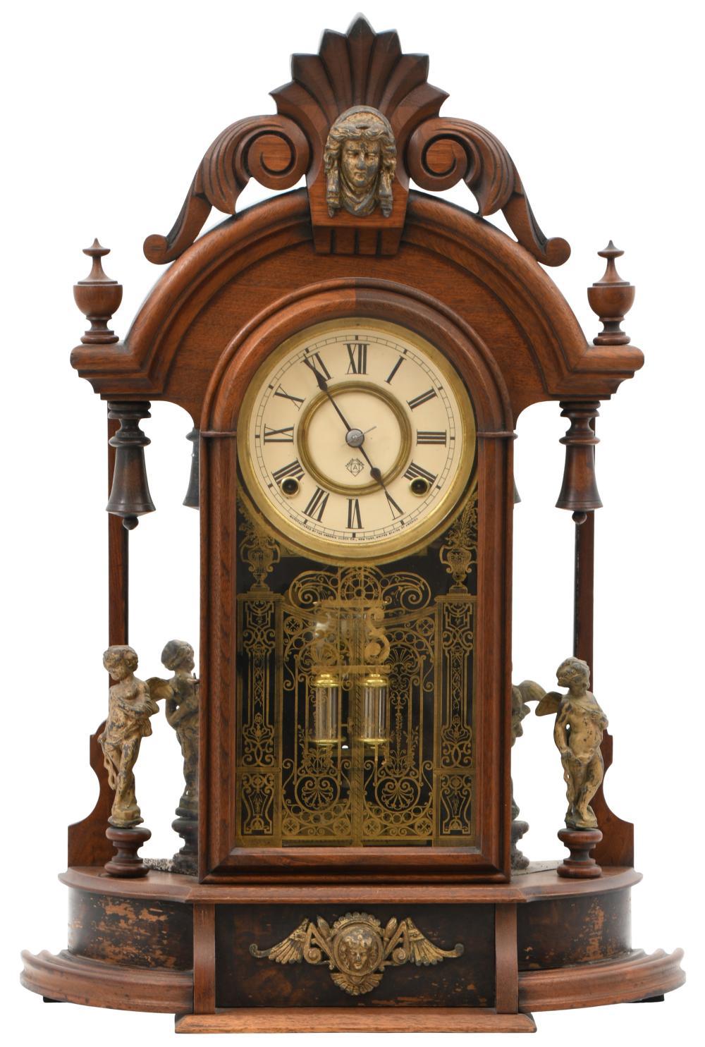 """Ansonia Clock Co. """"Triumph"""" Mirror Side Mantel Clock"""