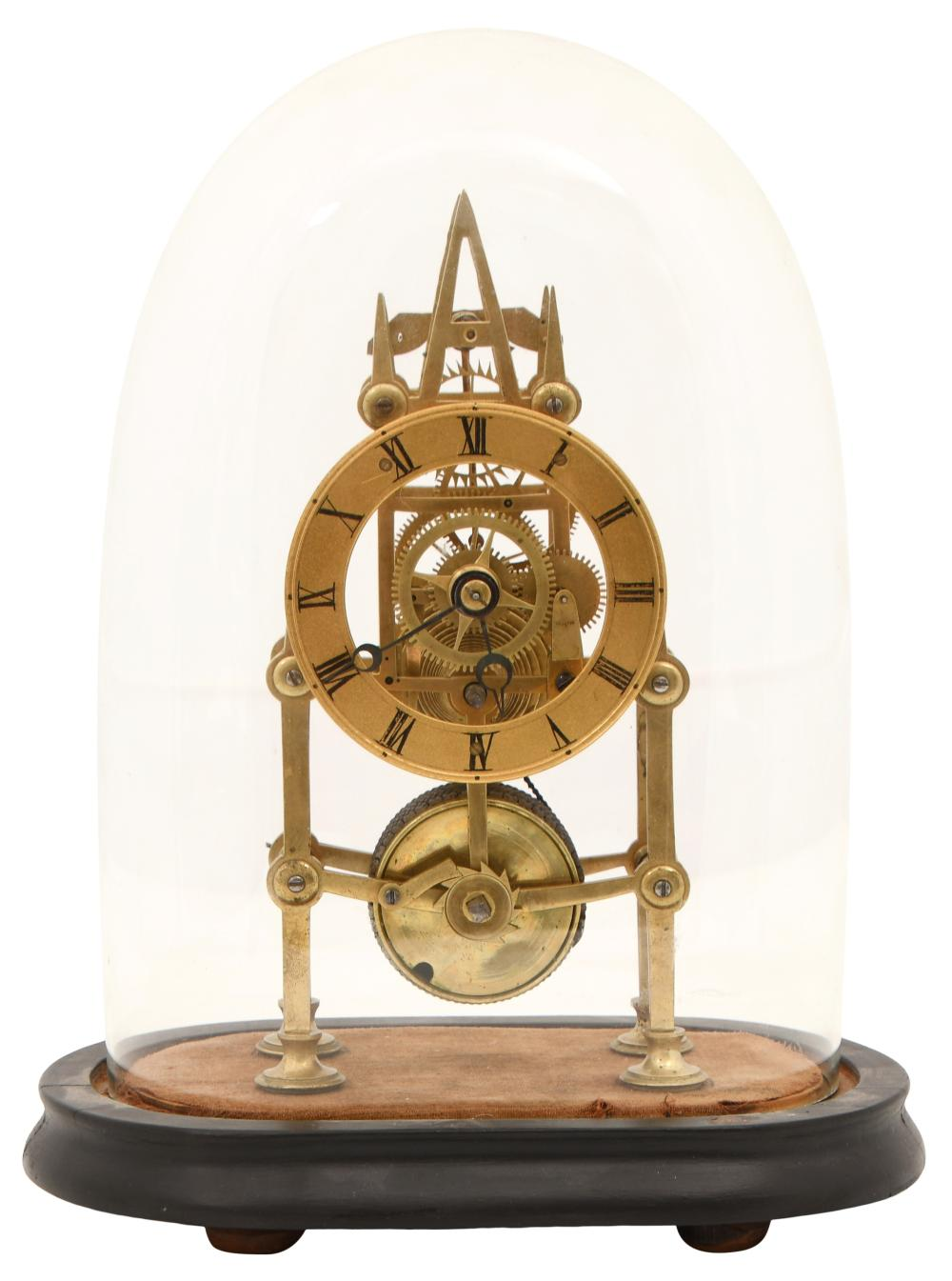 French Fusee Skeleton Clock with Dome