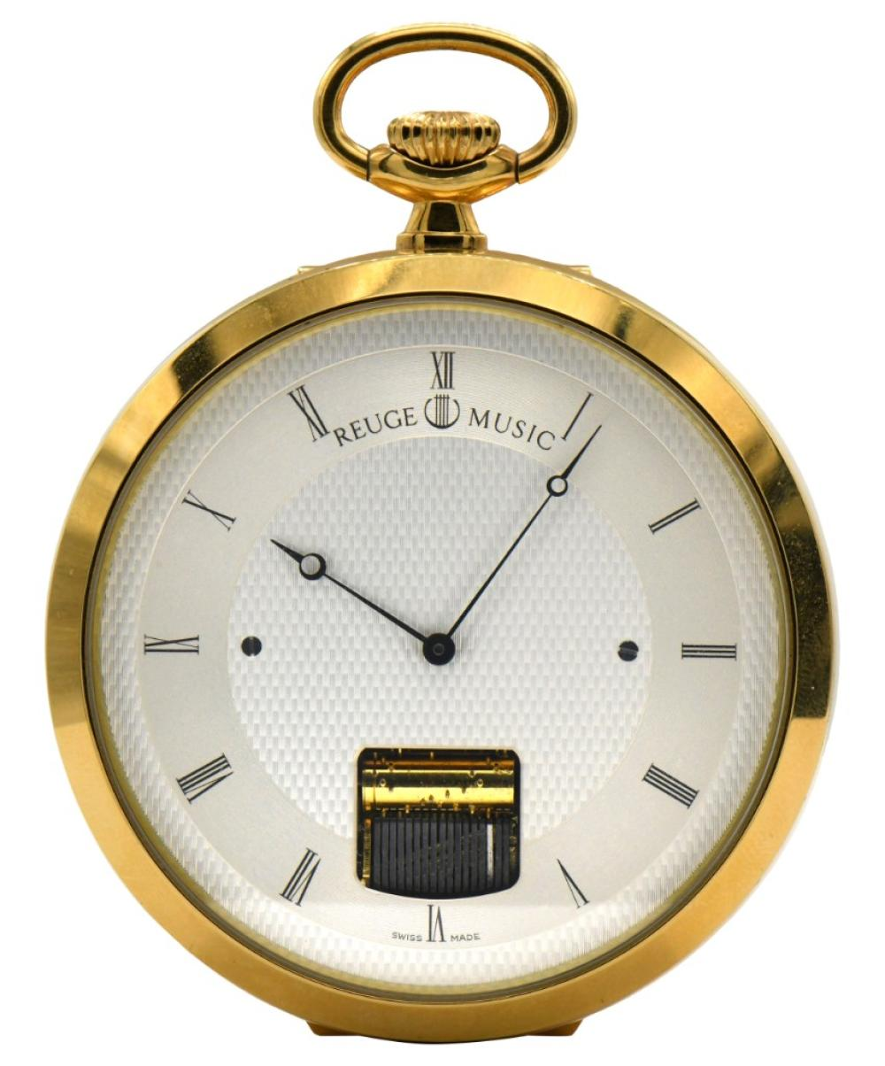 Reuge Music Sainte Croix Gold Plated Musical Open Face Pocket Watch