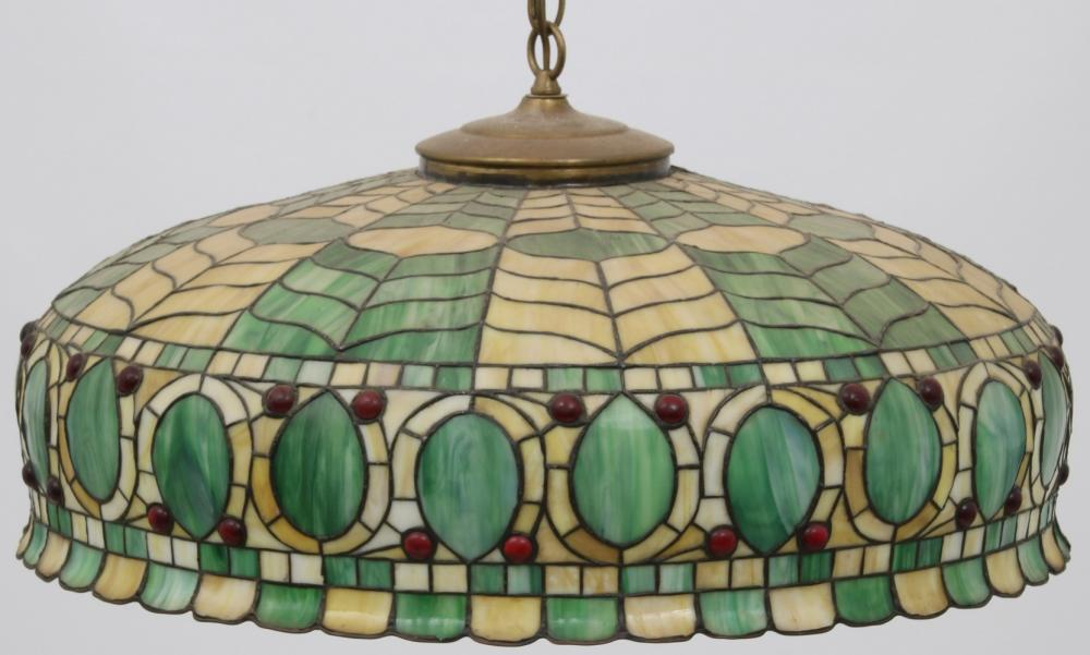 Leaded Glass Hanging Light Fixture