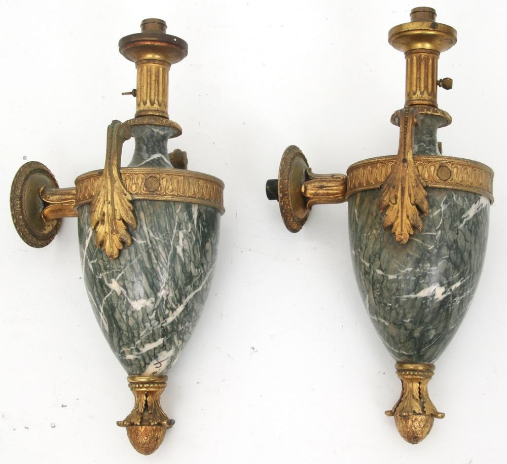 Pair of Gilt Bronze and Marble Sconces