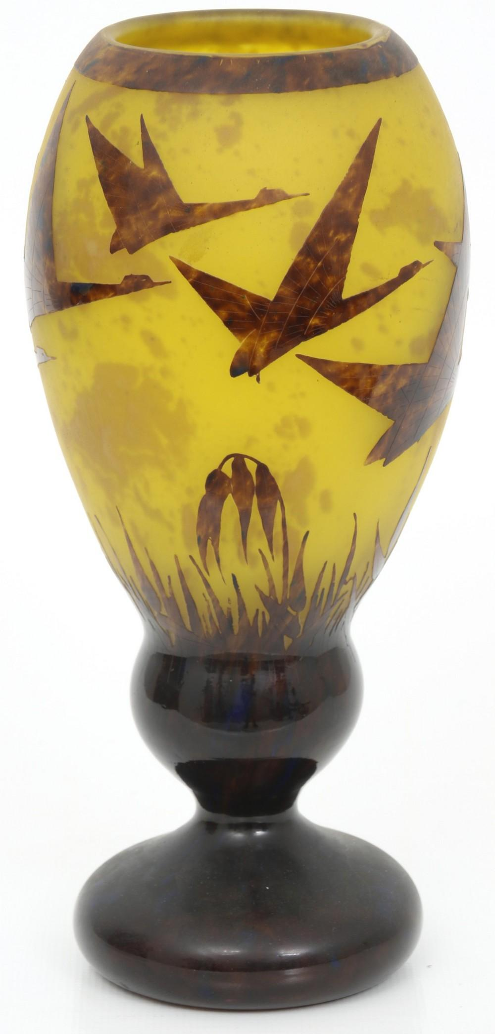 Cameo Glass Vase with Geese