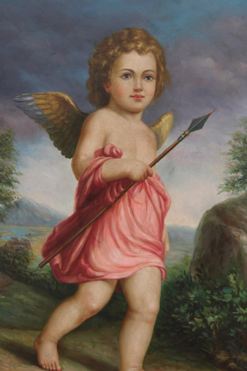 Pair of Cupid Paintings (20th Century)