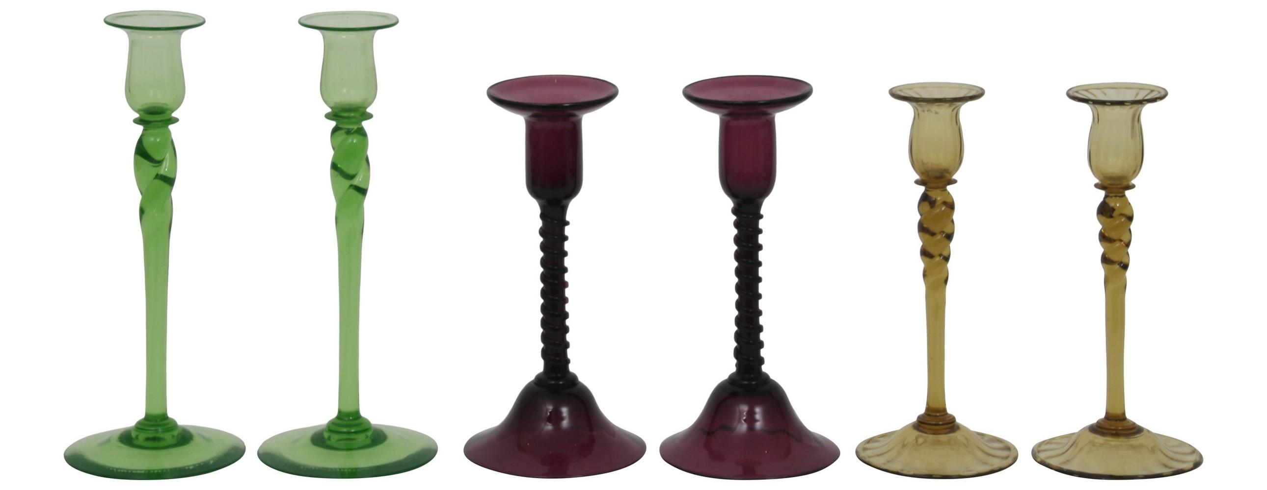 Three Pairs of Steuben Candlesticks
