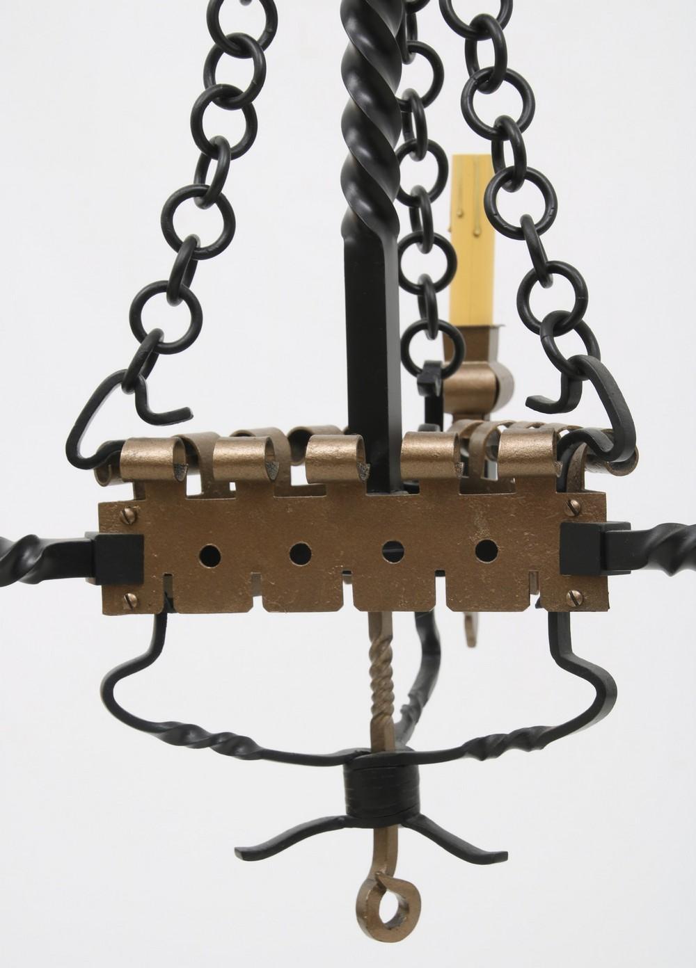 Wrought Iron Three Light Chandelier