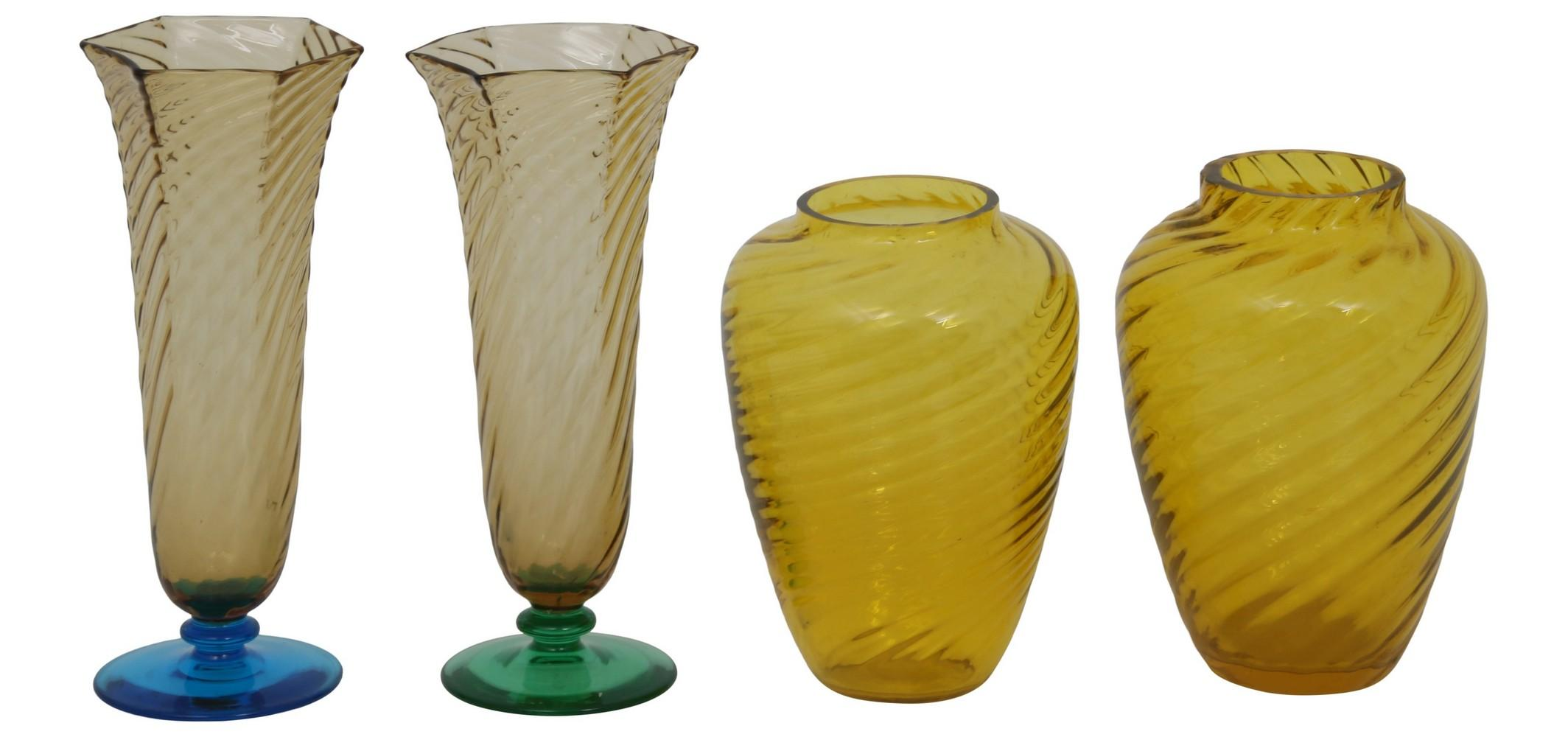 Group of Four Steuben Vases