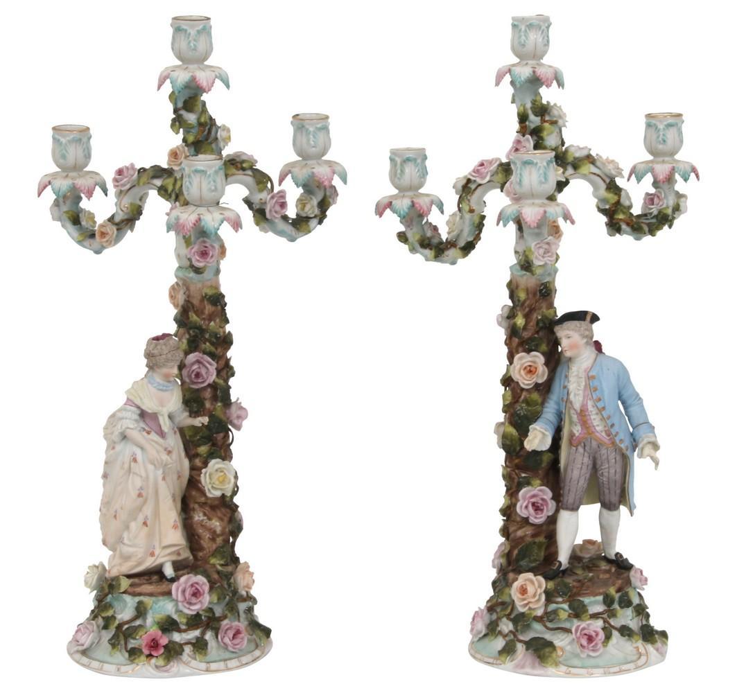 Pair of Porcelain Candlesticks