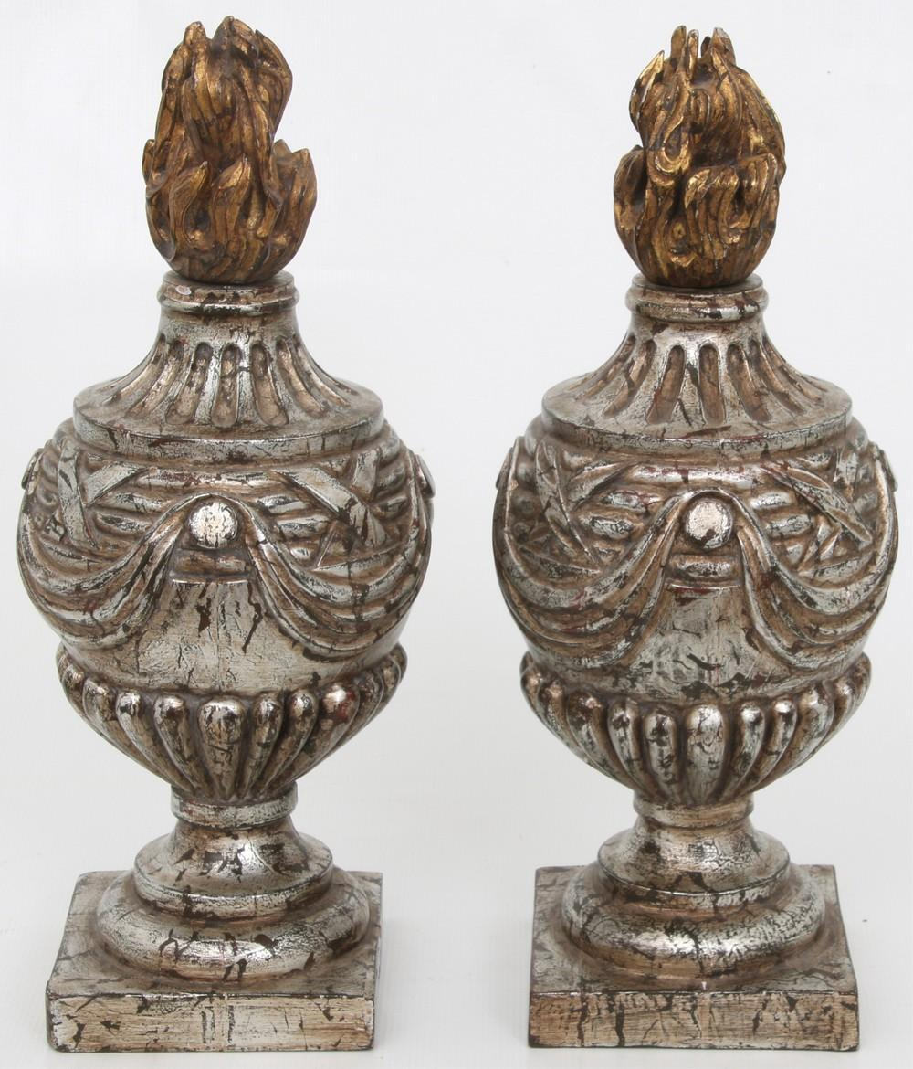 Pair of Wooden Flame Finials