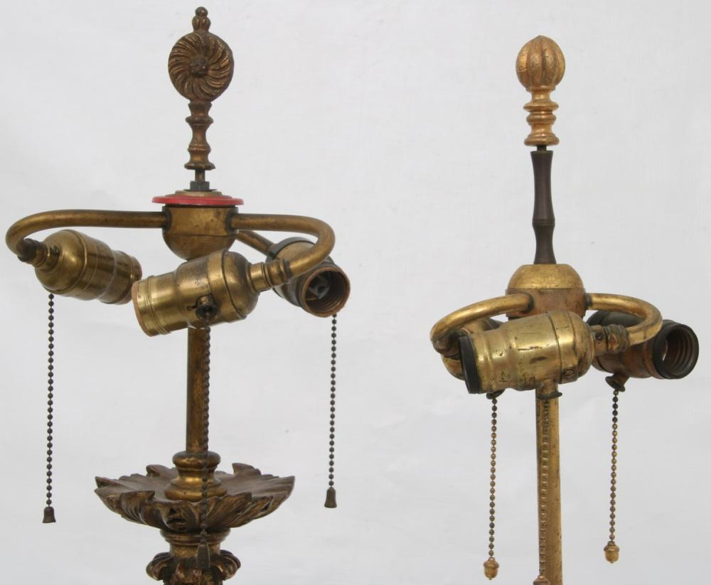 Two Gilded Wooden Lamps