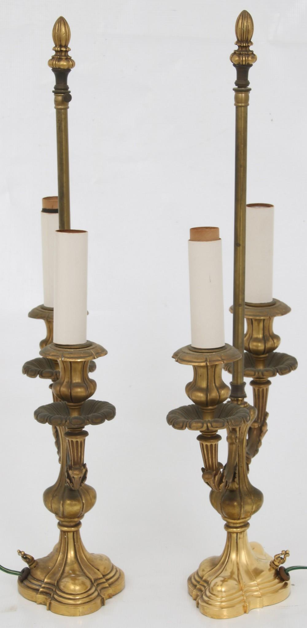 Pair of Attr. E.F. Caldwell Gilt Bronze Lamps