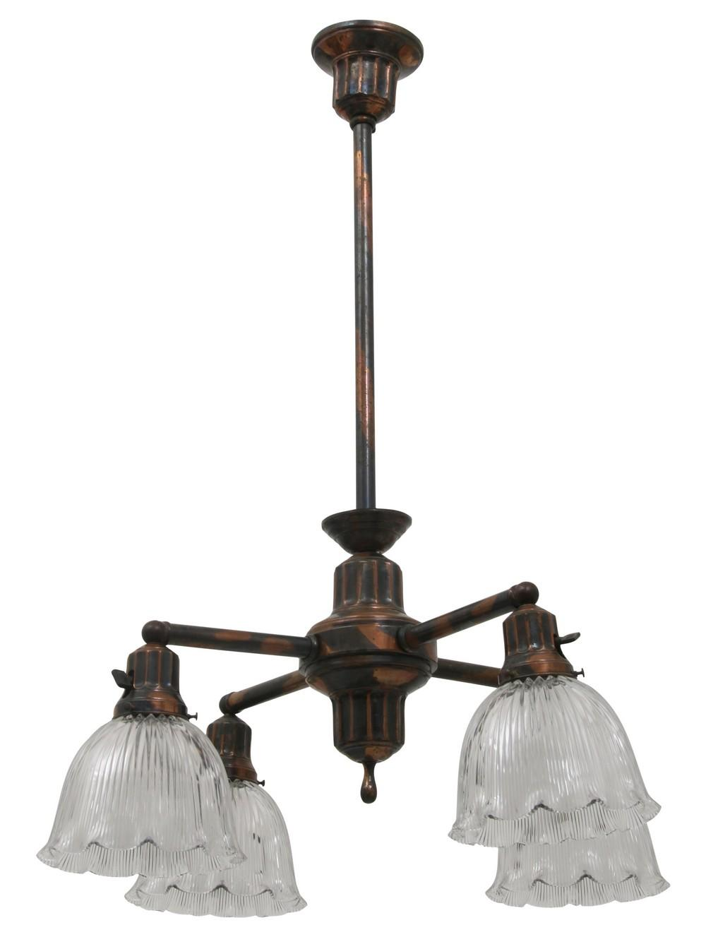 Brass Four Light Chandelier