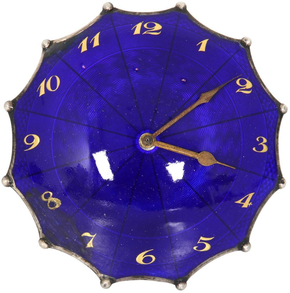 Silver & Enamel Umbrella Novelty Clock