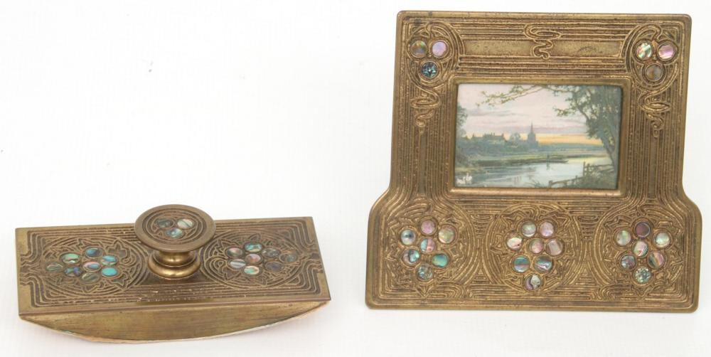 Tiffany Studios Nine Piece Abalone Desk Set
