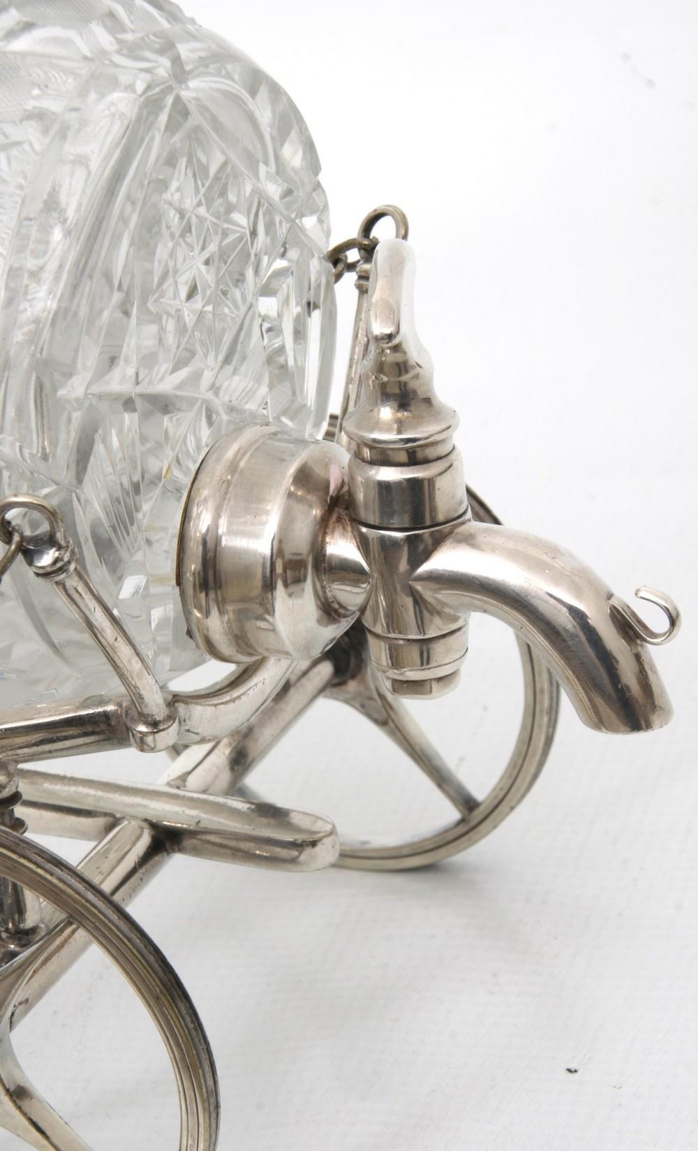 Brilliant Cut Glass Barrel Decanter on Wagon