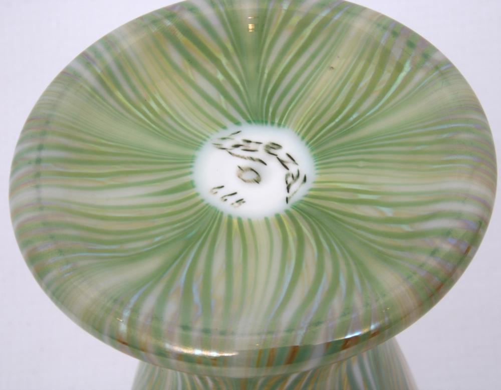 Quezal Pulled Feather Floriform Vase
