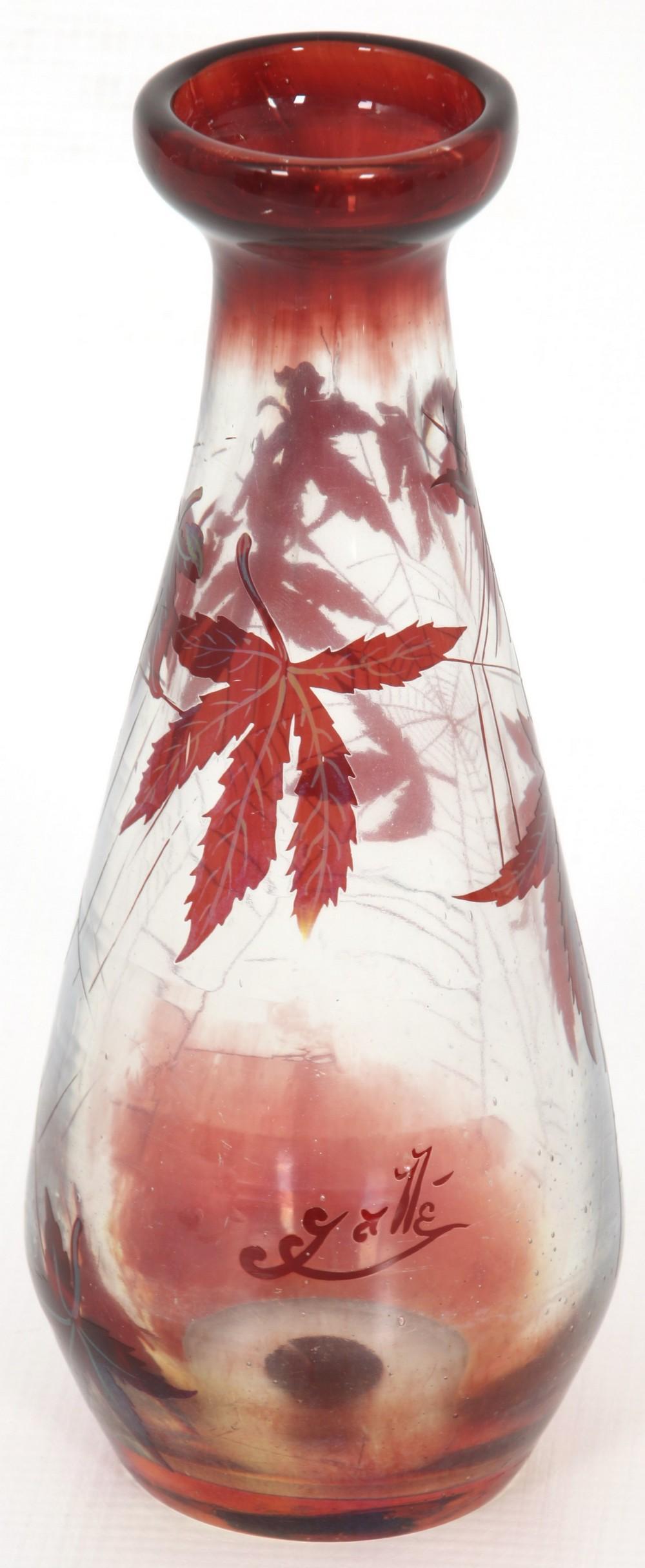 Gallé Cameo Glass Spiderweb Vase