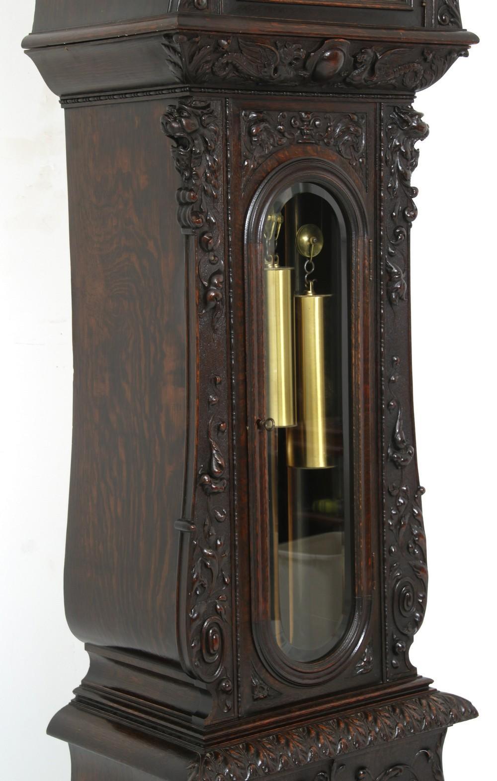 R.J. Horner Carved Oak Grandfather Clock
