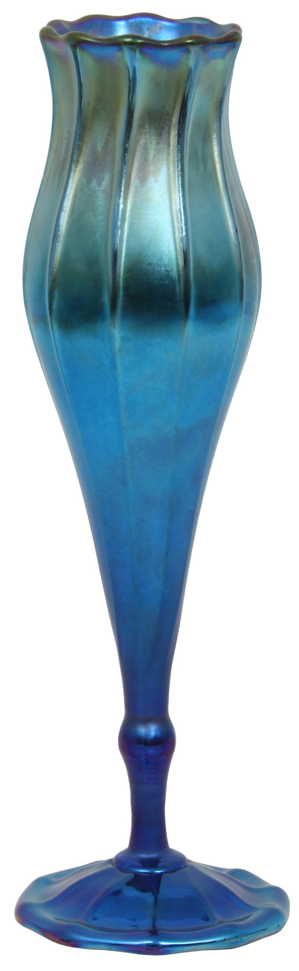 Tiffany Studios Blue Favrile Floriform Vase