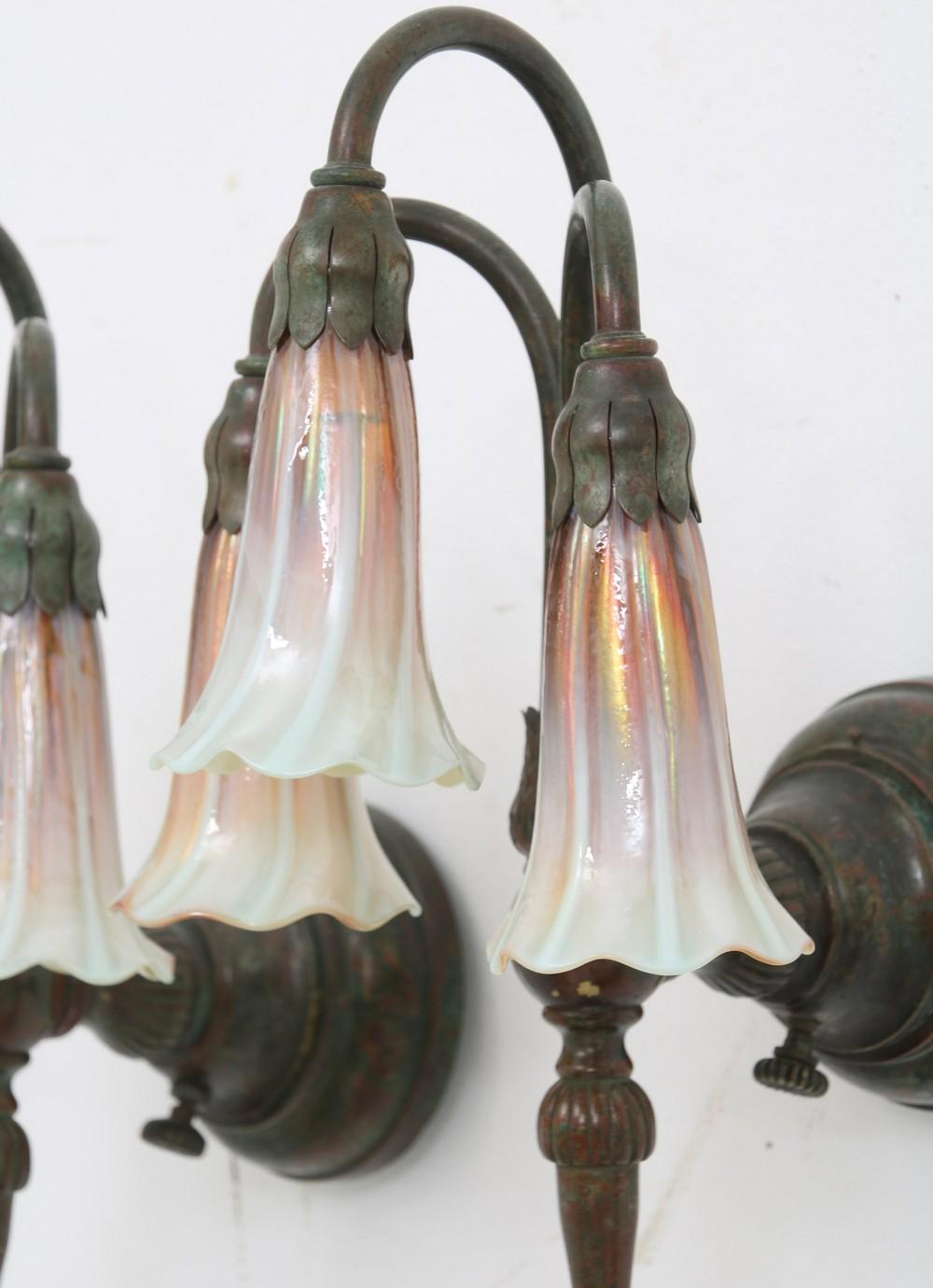 Pair of Tiffany Studios Three Light Lily Sconces
