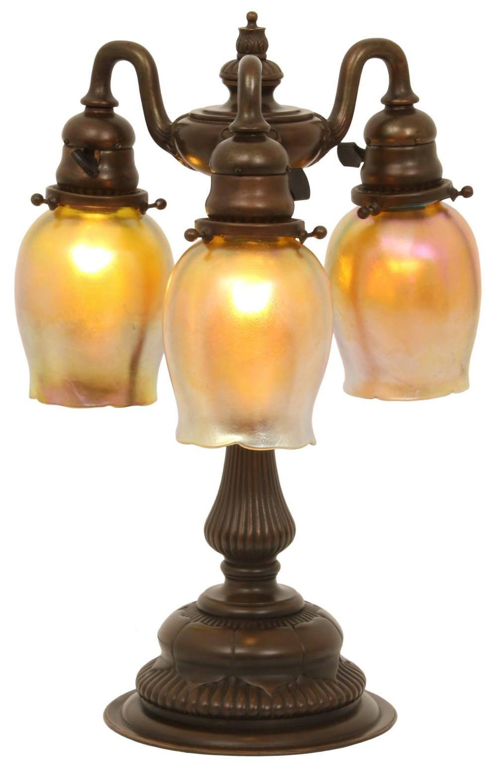 Tiffany Studios Three Light Tulip Lamp